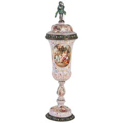Important Sterling Silver and Enamel Vienna Lidded Goblet, 19th Century, 1880
