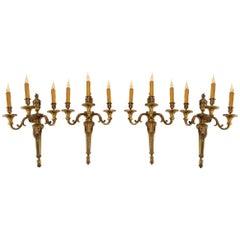 Important Suite of Four Bronze Sconces