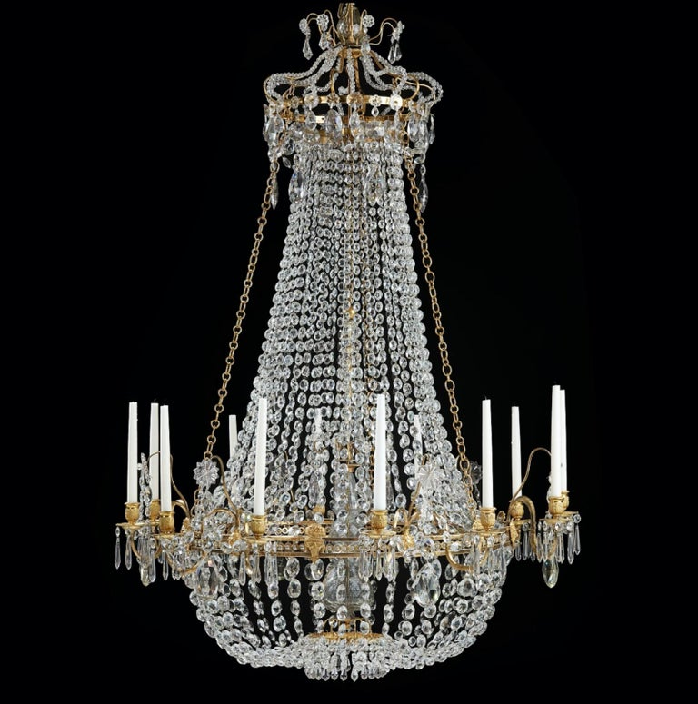 Gustavian Important Swedish Twelve-Light Haga Chandelier, Stockholm, Late 18th Century For Sale