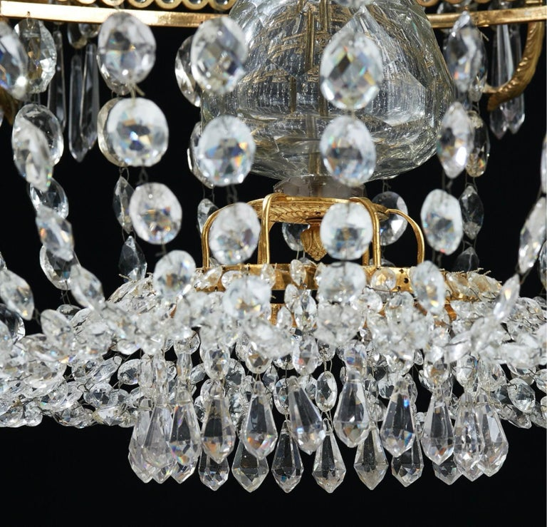 Crystal Important Swedish Twelve-Light Haga Chandelier, Stockholm, Late 18th Century For Sale