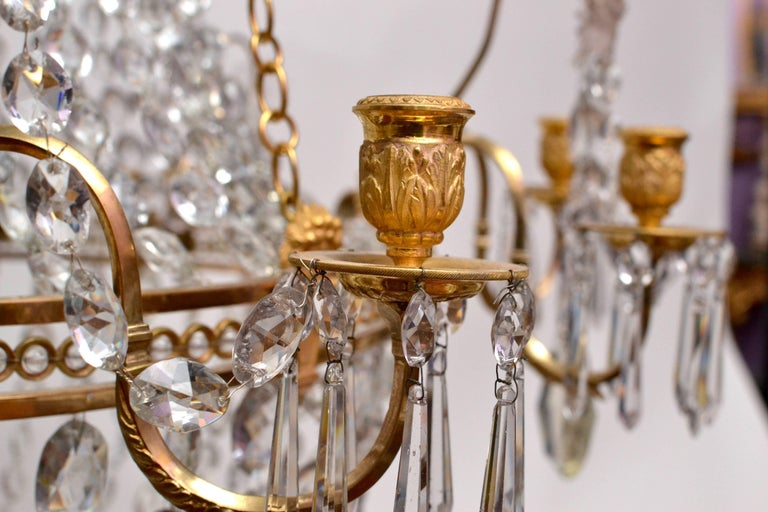 Important Swedish Twelve-Light Haga Chandelier, Stockholm, Late 18th Century For Sale 2
