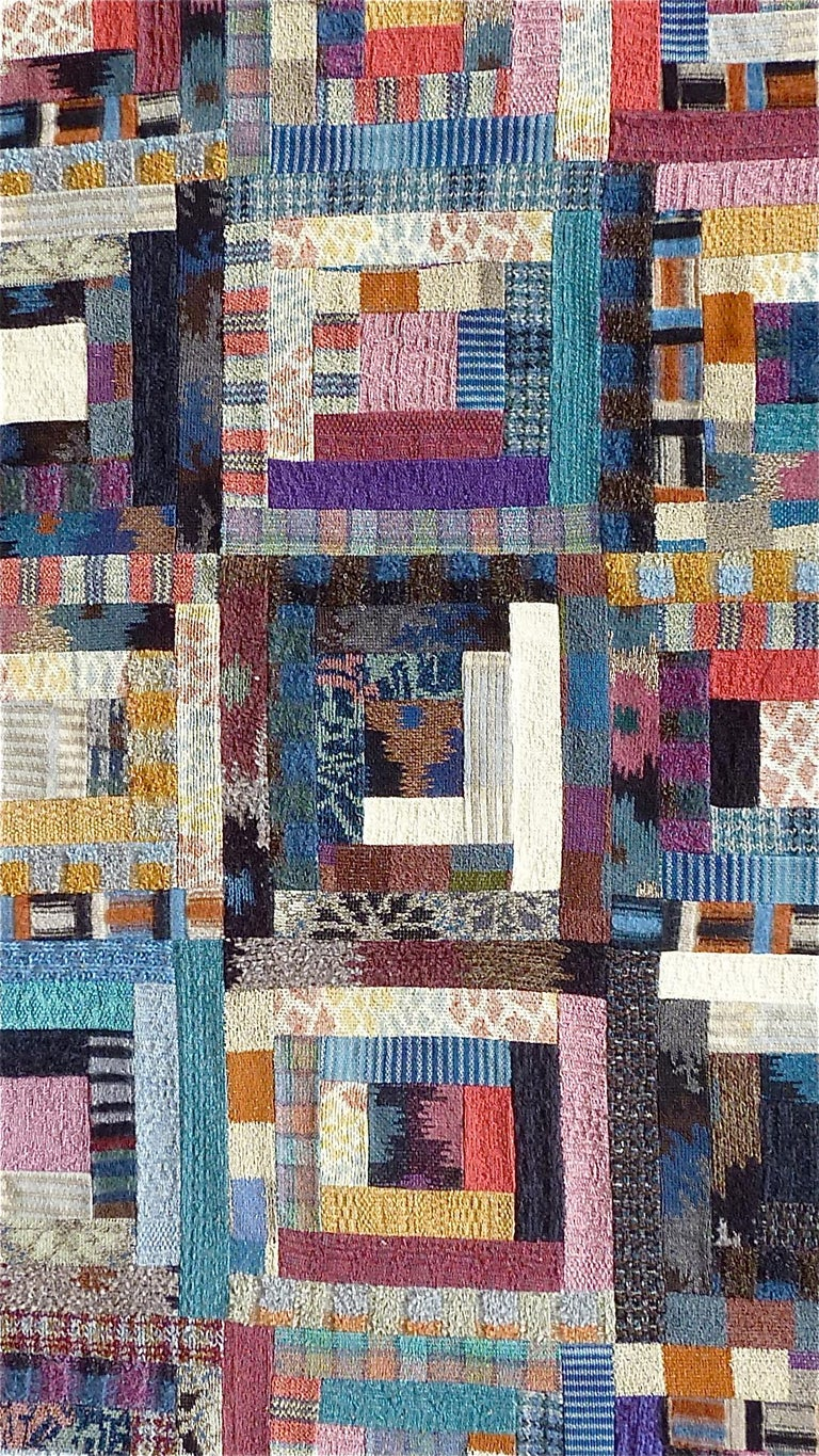 Hand-Crafted Important Unique Large Missoni Carpet Saporiti Italia Patchwork 1980s Labeled For Sale