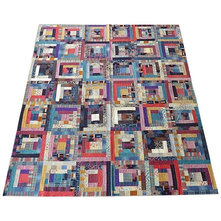 Important Unique Large Missoni Carpet Saporiti Italia Patchwork 1980s Labeled For Sale