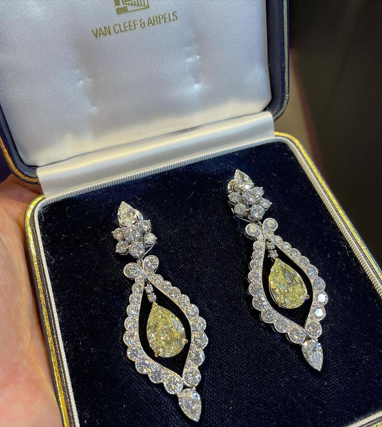 Pear Cut Van Cleef & Arpels Fancy Yellow Diamond Earrings For Sale