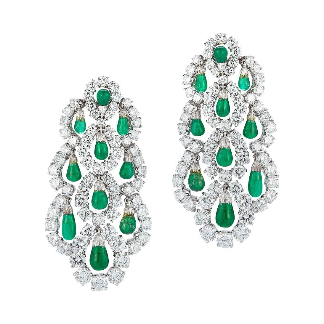 Van Cleef & Arpels Dangling Emerald & Diamond Earrings