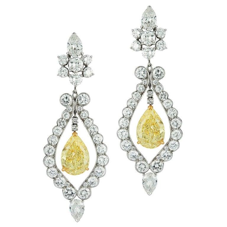 Van Cleef & Arpels Fancy Yellow Diamond Earrings For Sale