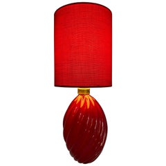 "Important Venini Table Lamp in Red, Form ""Diamante"", Murano by Paolo Venini"