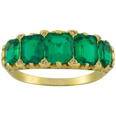 Important Victorian Five-Stone Emerald Ring