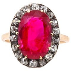 Important Victorian Natural Burmese Ruby '6 Carat' and Diamond Ring, circa 1890s