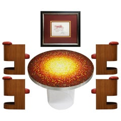 Important Vladimir Kagan Documented Mosaic Dining Set with Signed Sketch