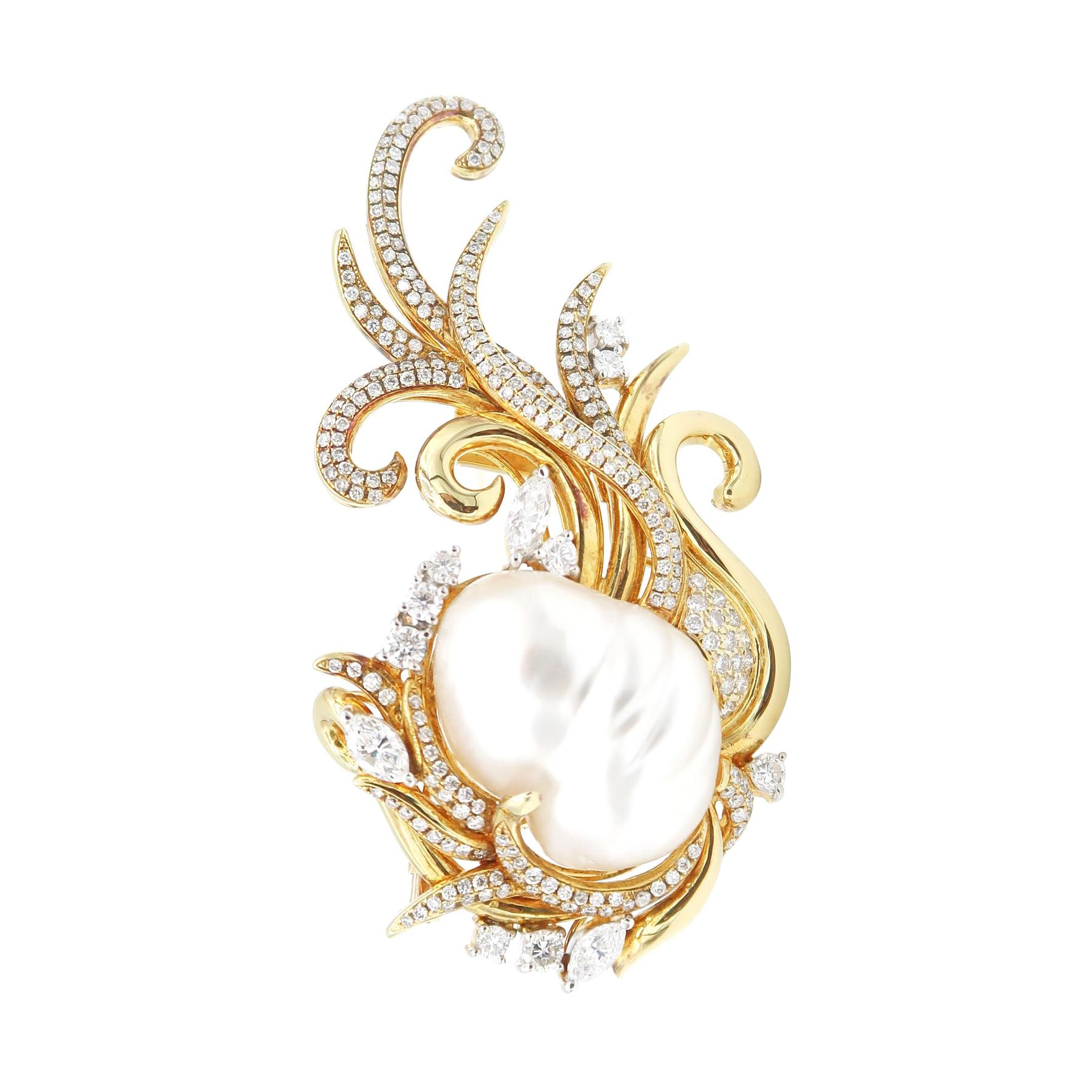 Important White South Sea Pearl Diamond Gold Brooch
