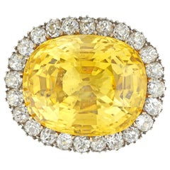 Important Yellow Sapphire and Diamond Cluster Brooch/Ring