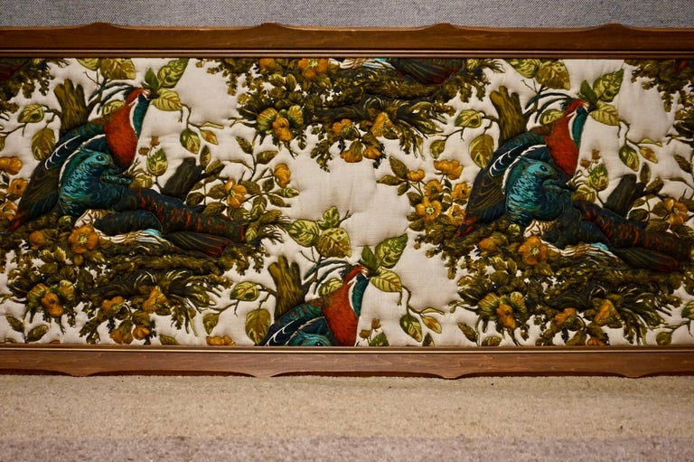 English Imported Art Deco Quilted Pheasants on Canvas in Walnut Frame For Sale