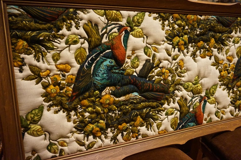 Imported Art Deco Quilted Pheasants on Canvas in Walnut Frame In Good Condition For Sale In Vancouver, British Columbia