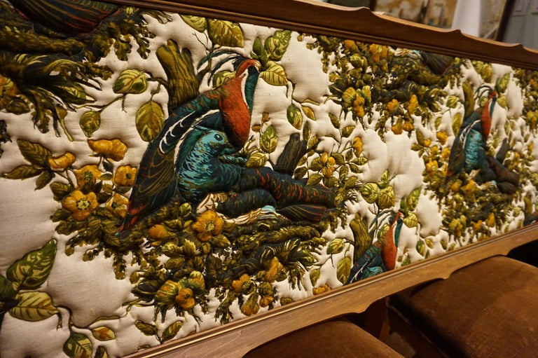 Mid-20th Century Imported Art Deco Quilted Pheasants on Canvas in Walnut Frame For Sale
