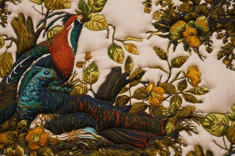 Imported Art Deco Quilted Pheasants on Canvas in Walnut Frame For Sale 1