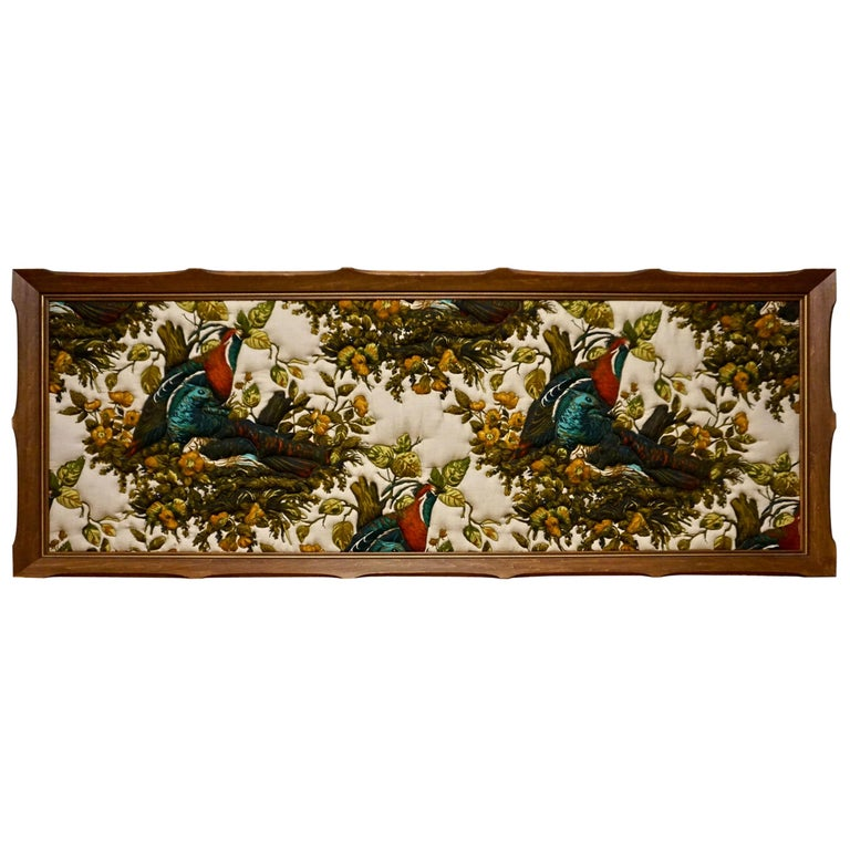 Imported Art Deco Quilted Pheasants on Canvas in Walnut Frame For Sale