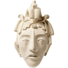 Imposant and Elegant African Ceramic Mask , Wall Decoration, circa 1975
