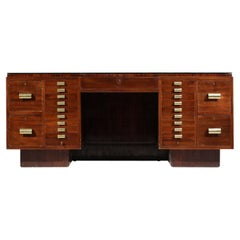 Imposing 1940's French Modernist Desk in Mahogany in Style of Dupré Lafon, E498