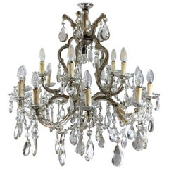 Large Imposing Elegant French Maria Theresa 16-Light Faceted Crystal Chandelier