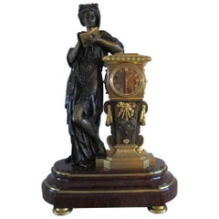 "Imposing Bronze and Marble Clock ""Sapho"""