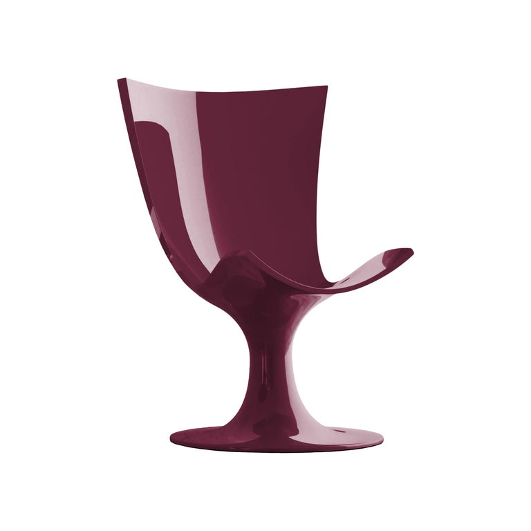 Imposing Burgundy Seat, Decorative and Sculptural Santos Chair by Joel Escalona For Sale