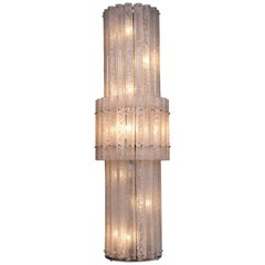 Imposing Floor Lamp in  Blown Murano Glass Blotchy Colored in a Grit Glass Italy