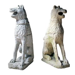 Imposing Large Pair of 16th Century Style Cast Stone Seated Dogs