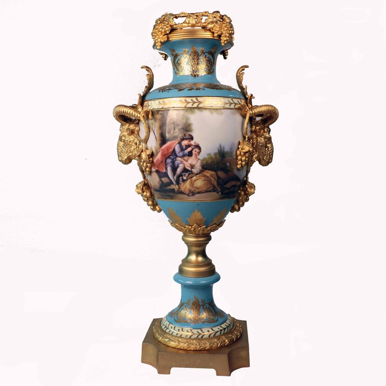 French Imposing Louis XVI Style Pair of Sèvres Style Vases For Sale