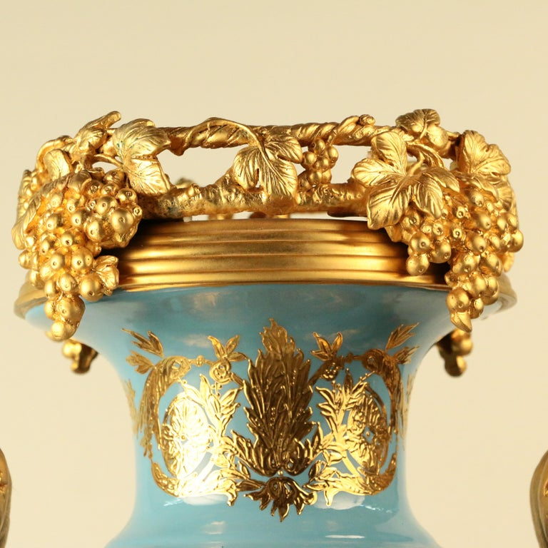 Hand-Crafted Imposing Louis XVI Style Pair of Sèvres Style Vases For Sale
