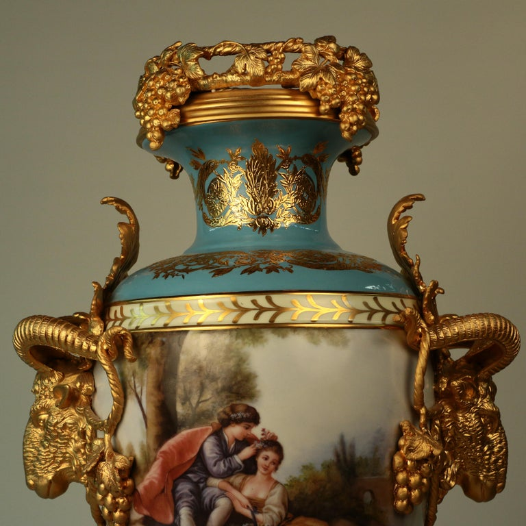 Late 20th Century Imposing Louis XVI Style Pair of Sèvres Style Vases For Sale