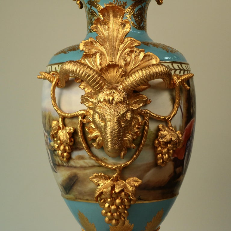 Imposing Louis XVI Style Pair of Sèvres Style Vases For Sale 1