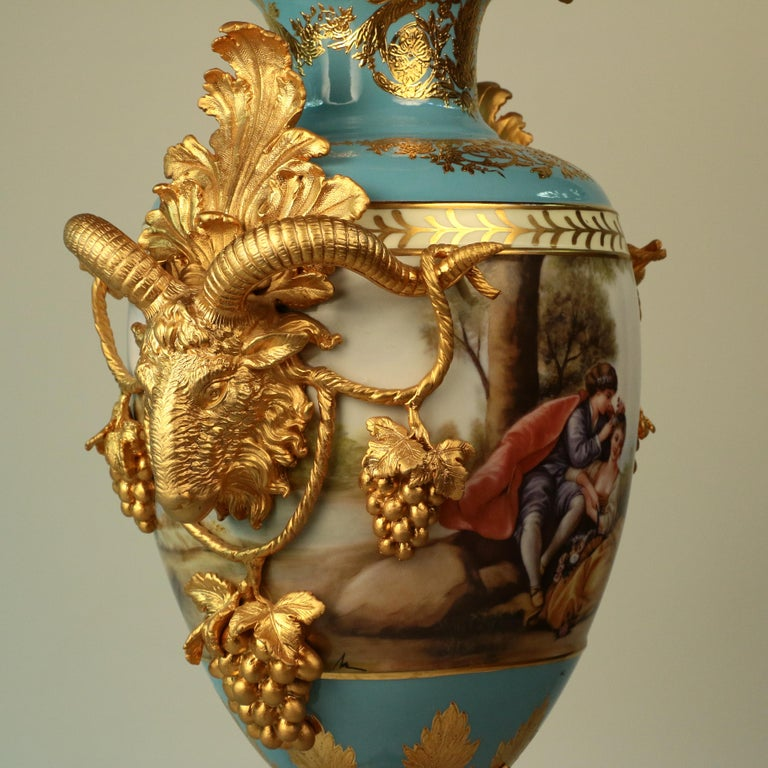Imposing Louis XVI Style Pair of Sèvres Style Vases For Sale 2