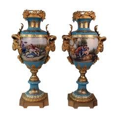 Imposing Louis XVI Style Pair of Sèvres Style Vases