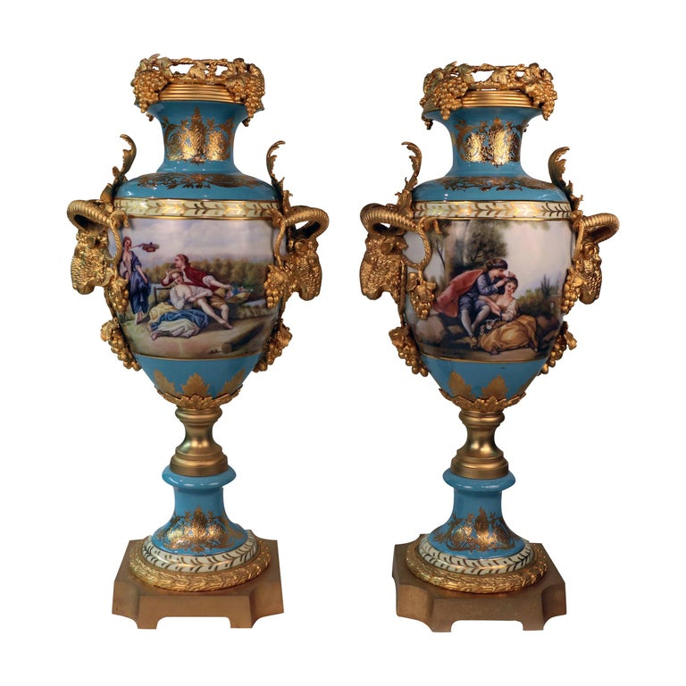 Imposing Louis XVI Style Pair of Sèvres Style Vases For Sale