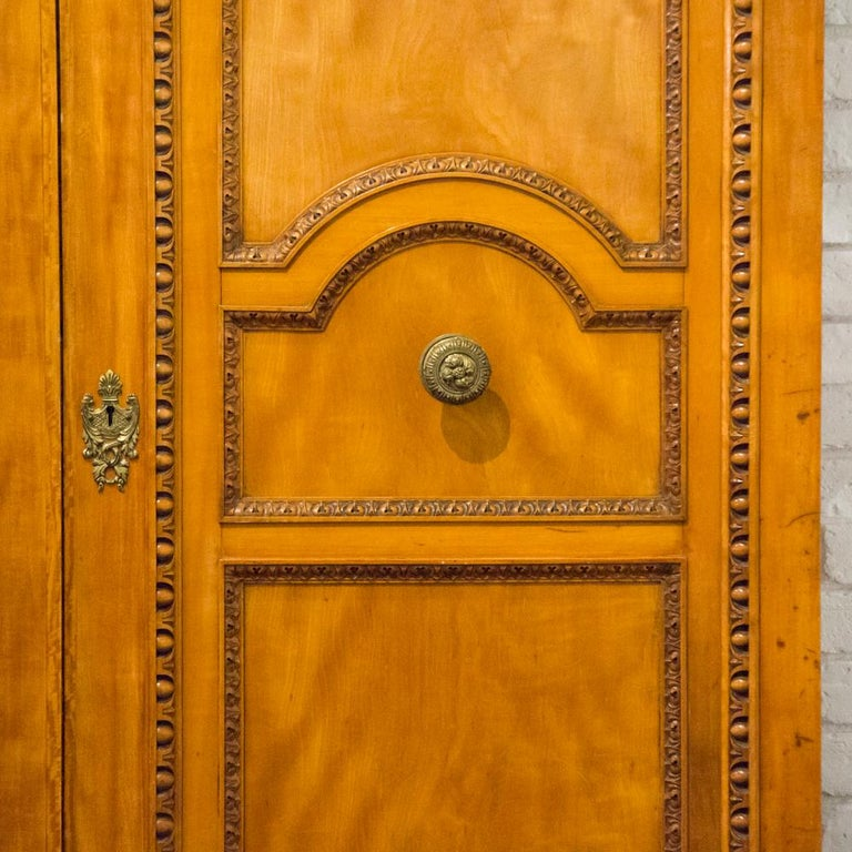 English Imposing Pair of Carved Satin Wood Doors For Sale