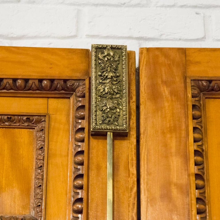 19th Century Imposing Pair of Carved Satin Wood Doors For Sale