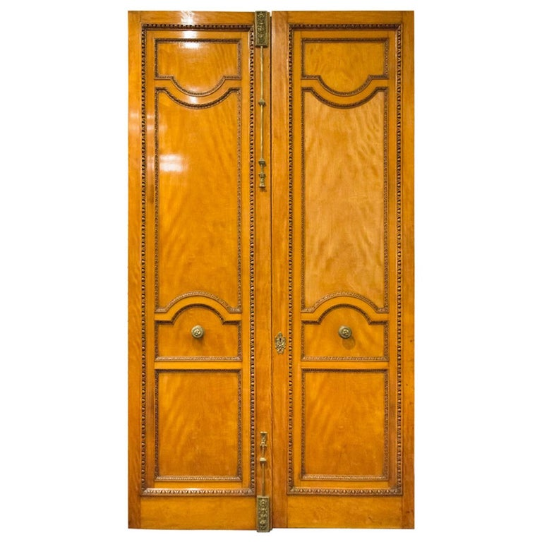 Imposing Pair of Carved Satin Wood Doors For Sale