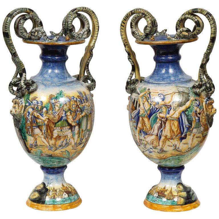 Imposing Pair of Large Antique Italian Majolica Snake-Handled Vases For Sale