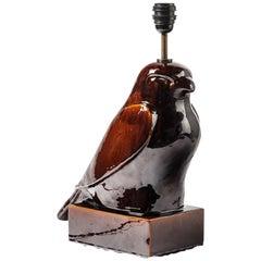 Imposing Porcelain Ceramic Lamp Representing an Eagle, Bird Lamp circa 1970