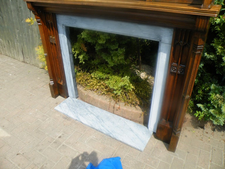 Imposing Reformed Gothic Oak Fireplace Mantel Surround 1870s with Mirror For Sale 11