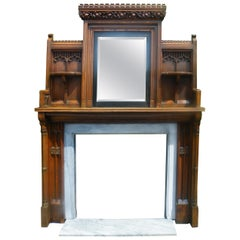 Imposing Reformed Gothic Oak Fireplace Mantel Surround 1870s with Mirror