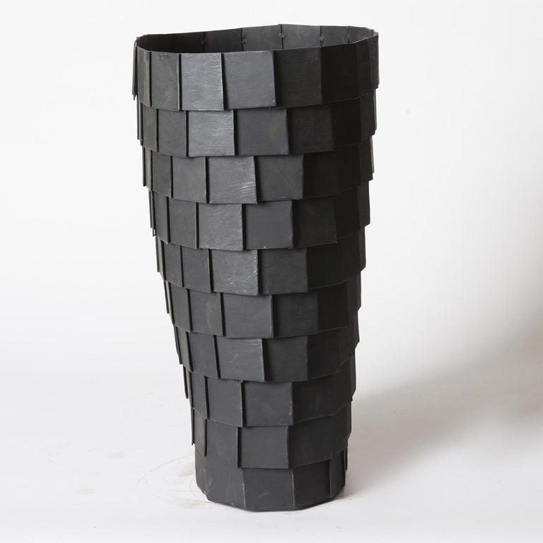 Italian Impressione Iron Vase For Sale
