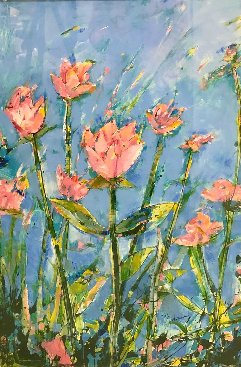 Painting of flowers by James Antonie. Signed. Acrylic on paper.  The painting is filled with exuberant color, light, vitality and life  Framed in white wood with plexi-glass. Dimensions below are framed dimensions.