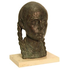 Impressionist Bronze Bust Sculpture of a Young Lady, on a Marble Base, Unsigned