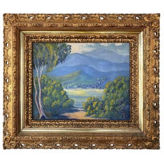 California Plein Air Impressionist Oil Painting in Baroque Frame, Early 20th C.
