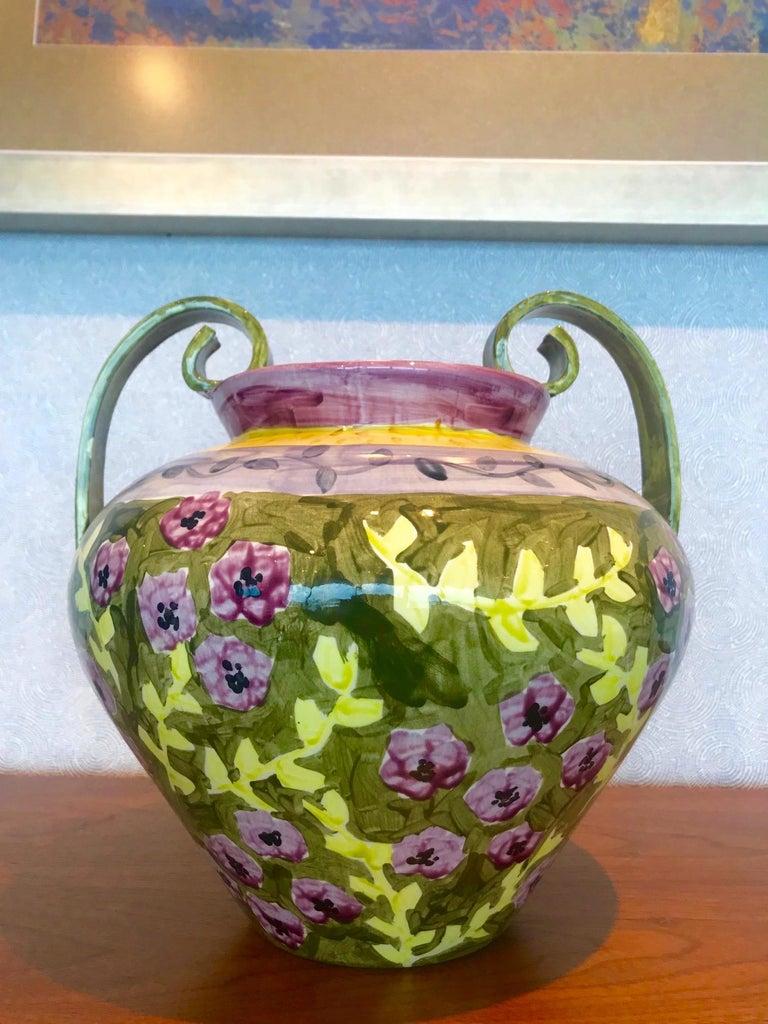 Impressionist Hand Painted Ceramic Urn Vase, Italy  For Sale 3