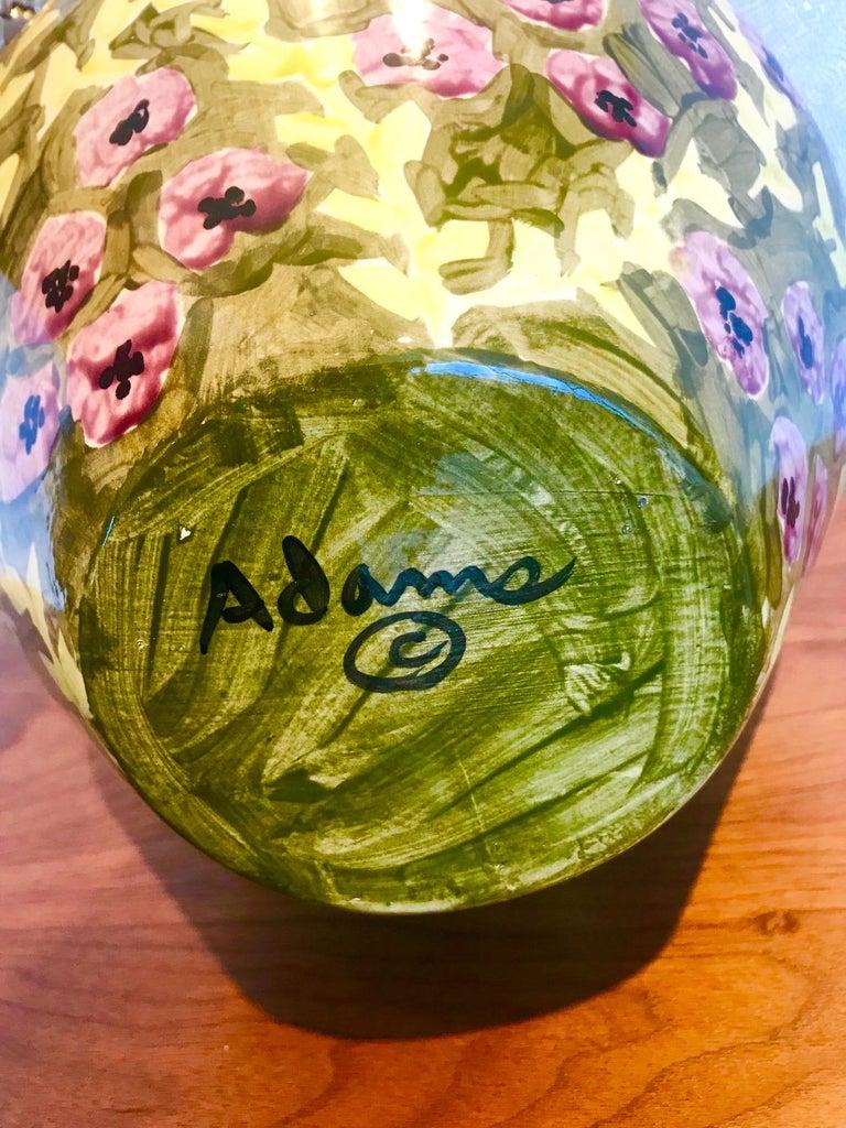 Impressionist Hand Painted Ceramic Urn Vase, Italy  For Sale 5