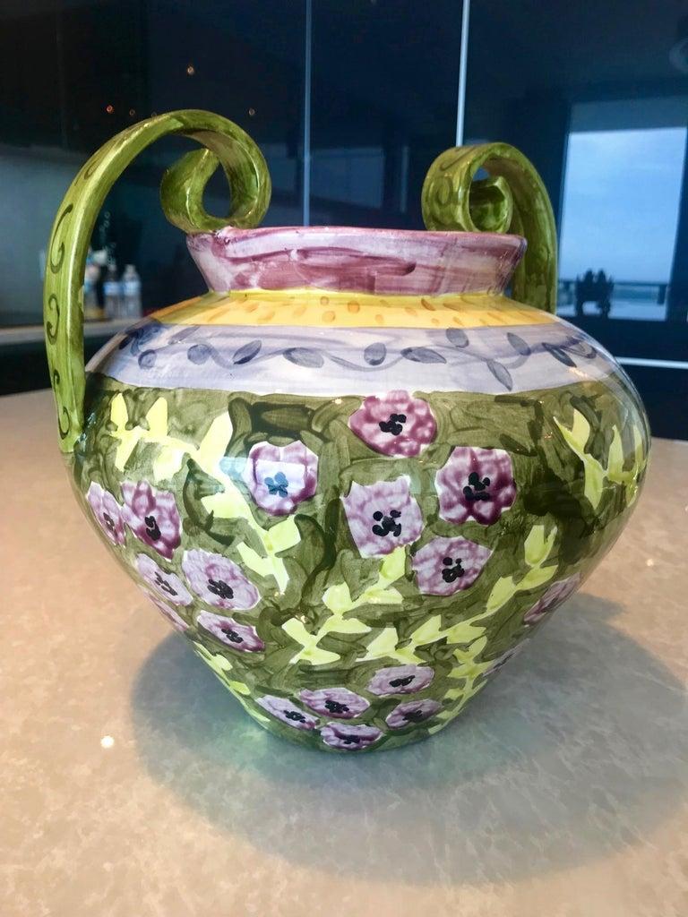 Italian Impressionist Hand Painted Ceramic Urn Vase, Italy  For Sale