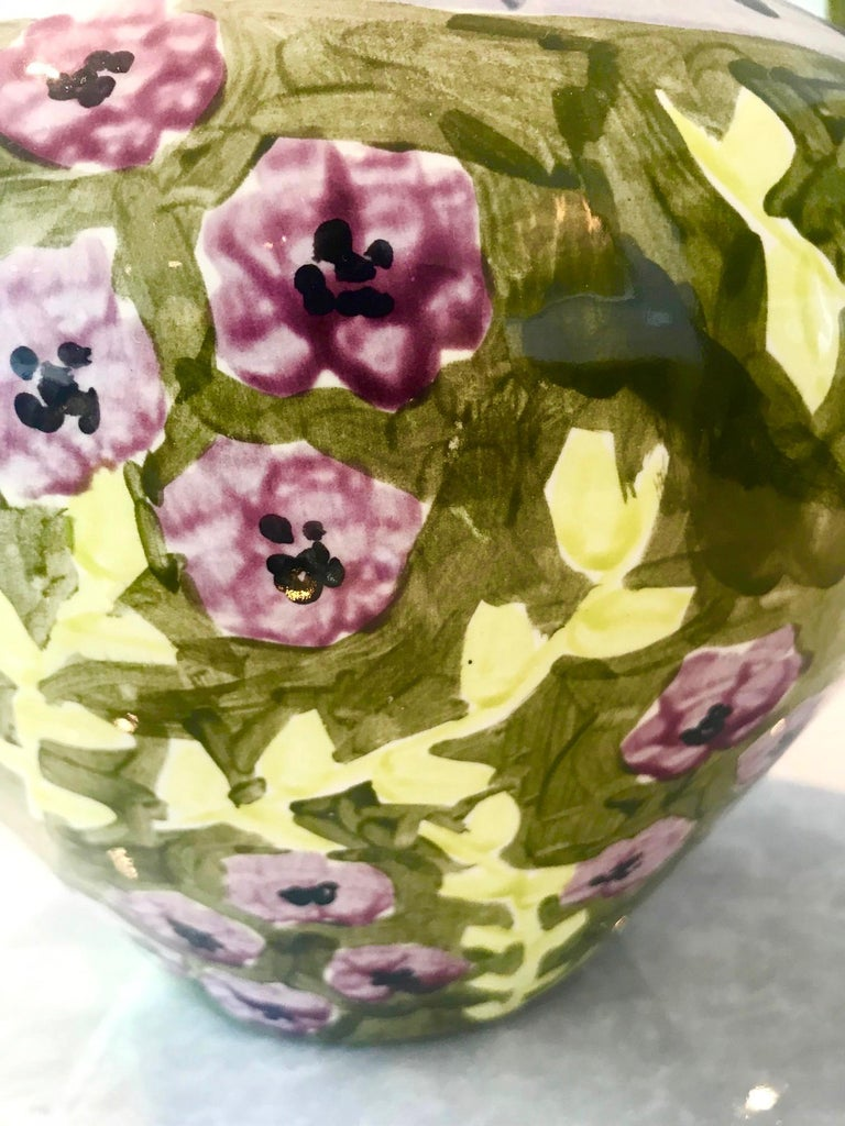 Late 20th Century Impressionist Hand Painted Ceramic Urn Vase, Italy  For Sale